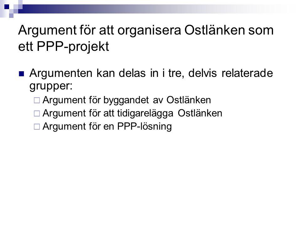 Argument för att organisera Ostlänken som ett PPP-projekt