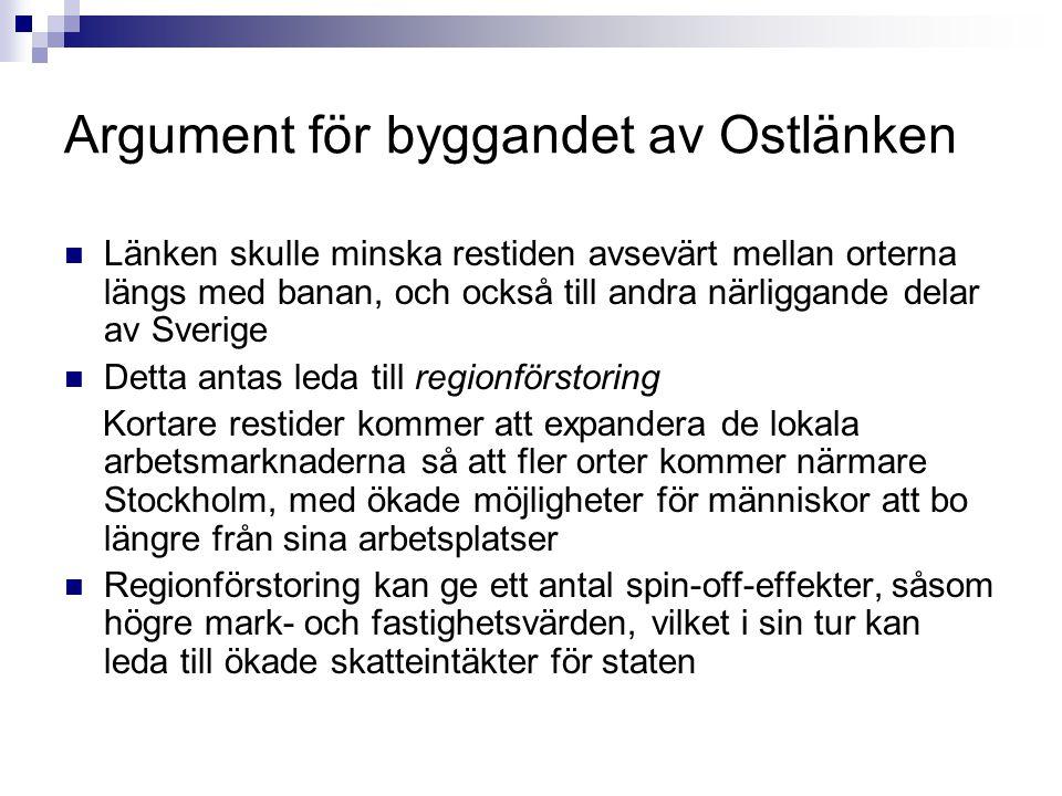Argument för byggandet av Ostlänken