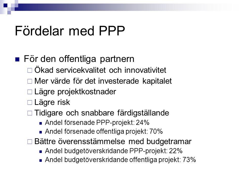 Fördelar med PPP För den offentliga partnern