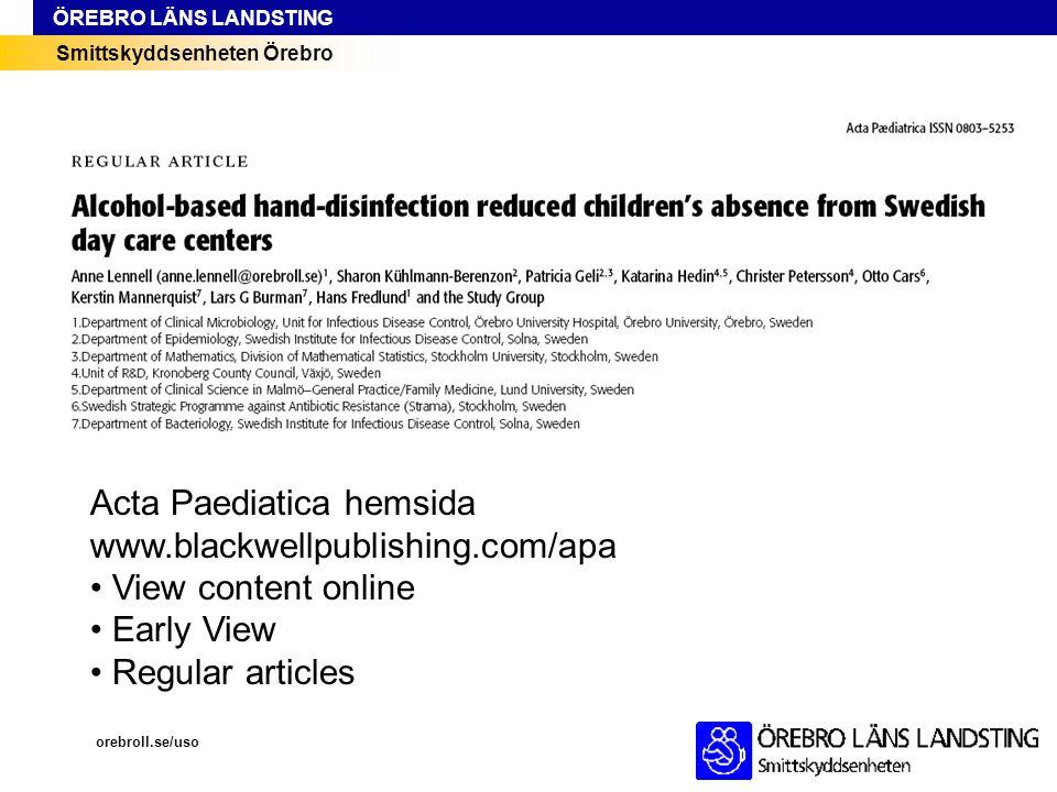 Acta Paediatica hemsida www.blackwellpublishing.com/apa