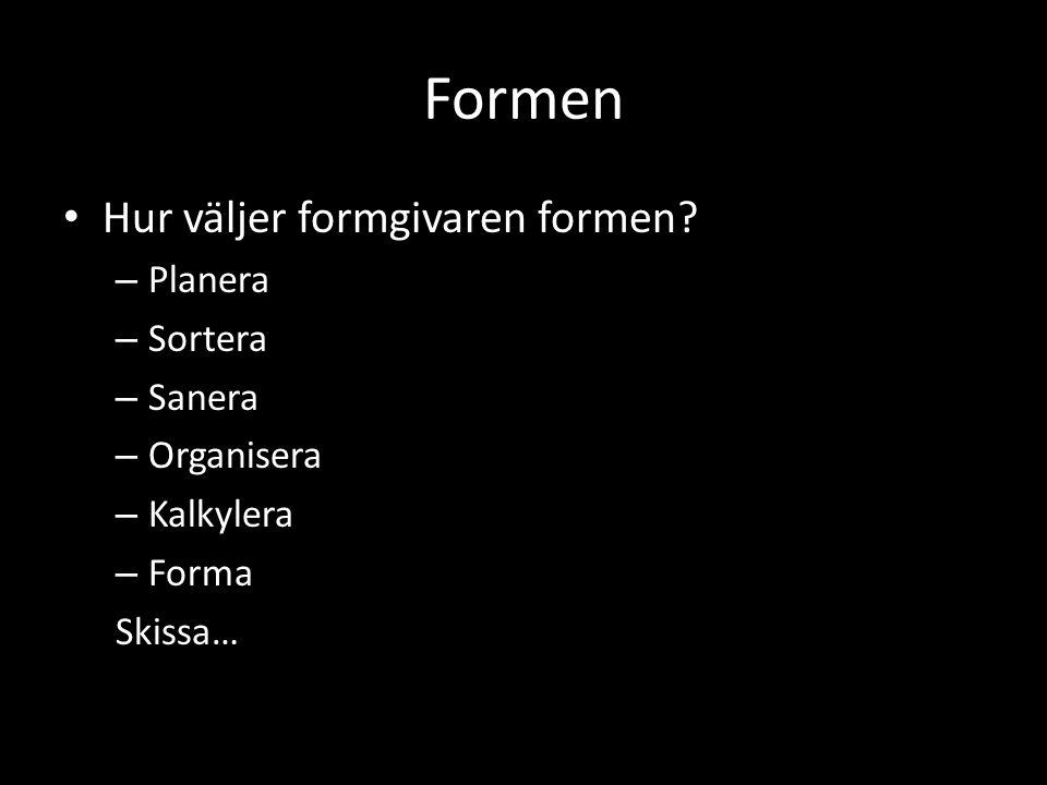 Formen Hur väljer formgivaren formen Planera Sortera Sanera