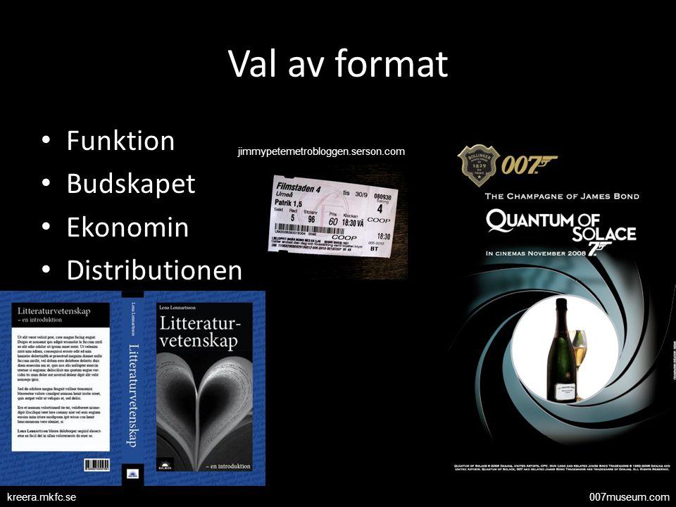Val av format Funktion Budskapet Ekonomin Distributionen