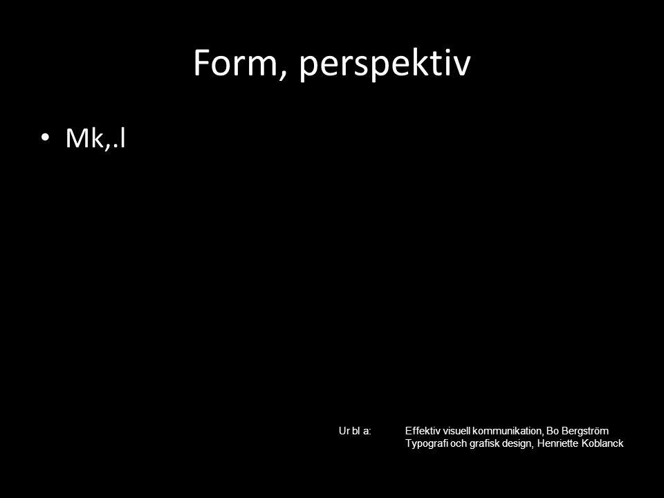 Form, perspektiv Mk,.l. Ur bl a: Effektiv visuell kommunikation, Bo Bergström.