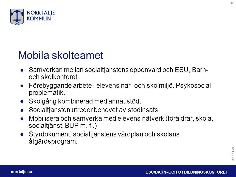 Mobila skolteamet Samverkan mellan socialtjänstens öppenvård och ESU, Barn- och skolkontoret.