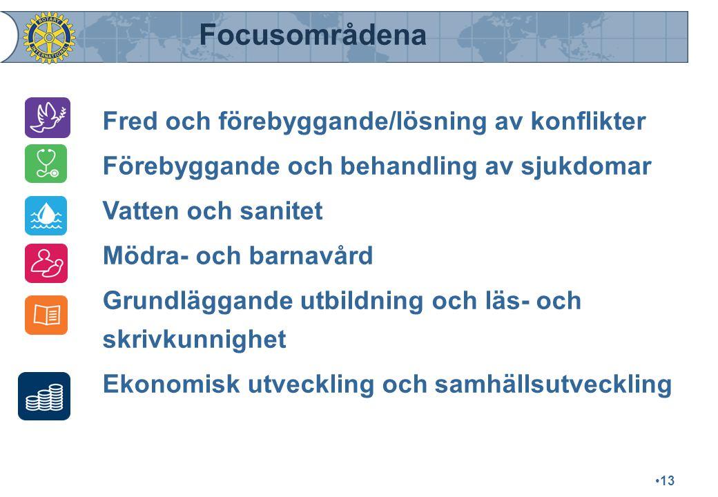 Focusområdena Fred och förebyggande/lösning av konflikter