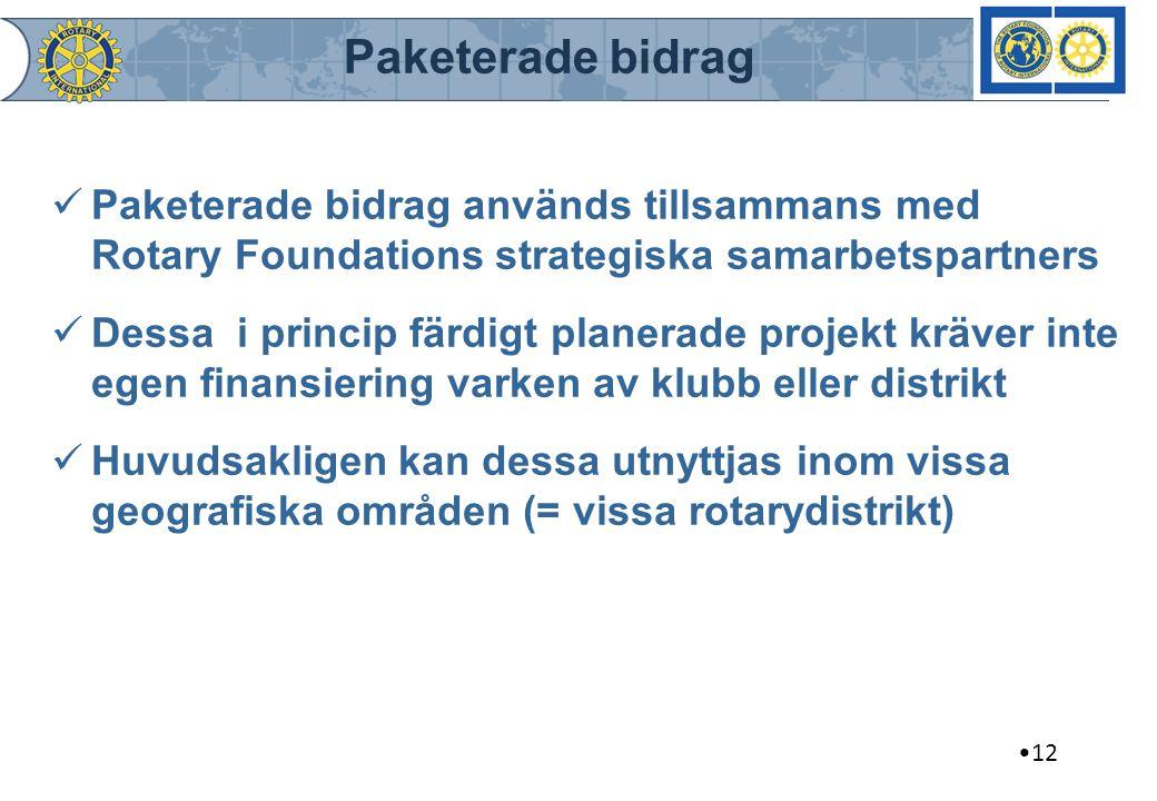Paketerade bidrag Paketerade bidrag används tillsammans med Rotary Foundations strategiska samarbetspartners.