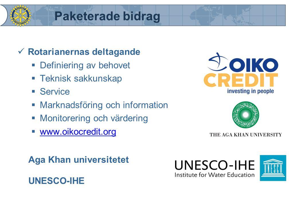 Paketerade bidrag Rotarianernas deltagande Definiering av behovet