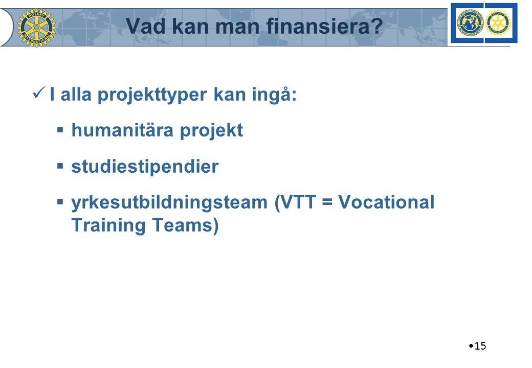 Vad kan man finansiera I alla projekttyper kan ingå:
