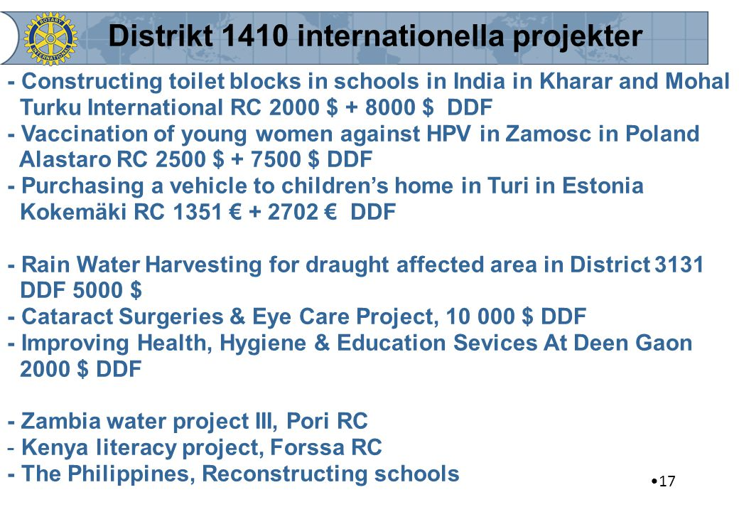 Distrikt 1410 internationella projekter