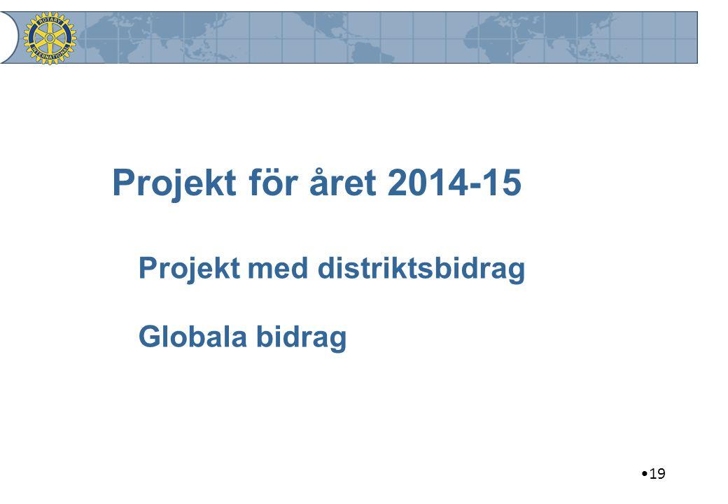 Projekt för året 2014-15 Projekt med distriktsbidrag Globala bidrag 19