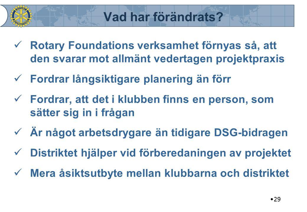 Vad har förändrats Rotary Foundations verksamhet förnyas så, att den svarar mot allmänt vedertagen projektpraxis.