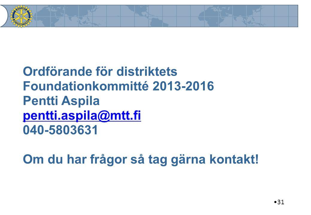 Ordförande för distriktets Foundationkommitté 2013-2016 Pentti Aspila