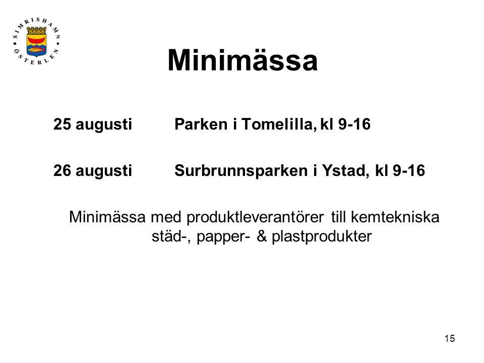 Minimässa 25 augusti Parken i Tomelilla, kl 9-16