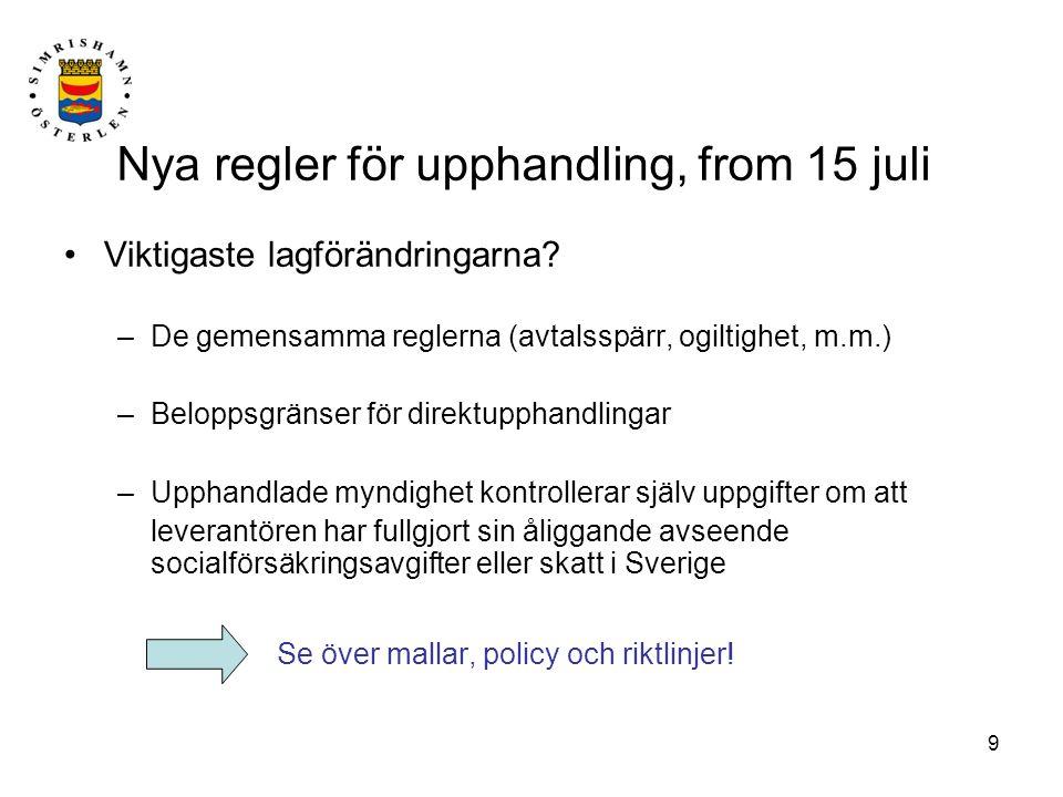 Nya regler för upphandling, from 15 juli