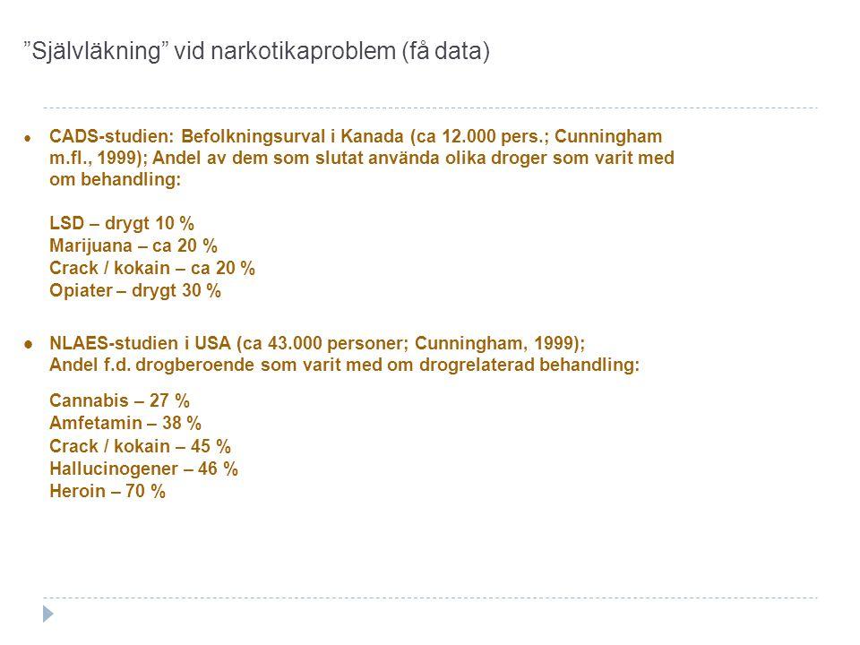 Självläkning vid narkotikaproblem (få data)