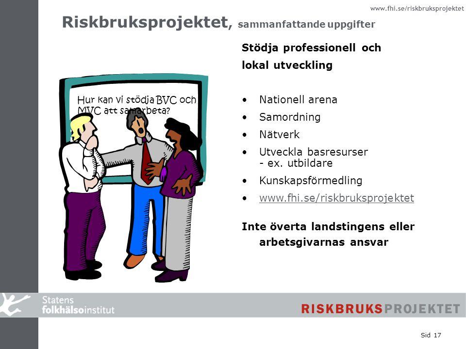 Riskbruksprojektet, sammanfattande uppgifter