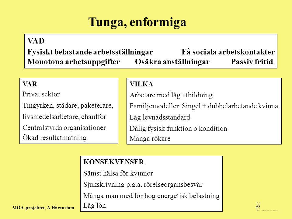 Tunga, enformiga VAD. Fysiskt belastande arbetsställningar Få sociala arbetskontakter.