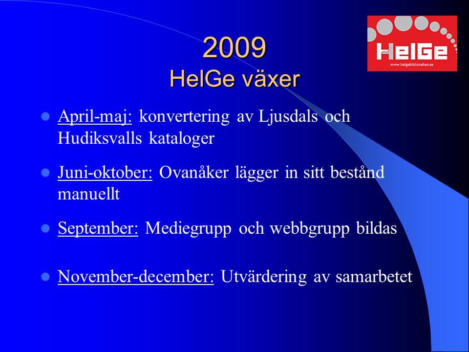 2009 HelGe växer April-maj: konvertering av Ljusdals och Hudiksvalls kataloger. Juni-oktober: Ovanåker lägger in sitt bestånd manuellt.