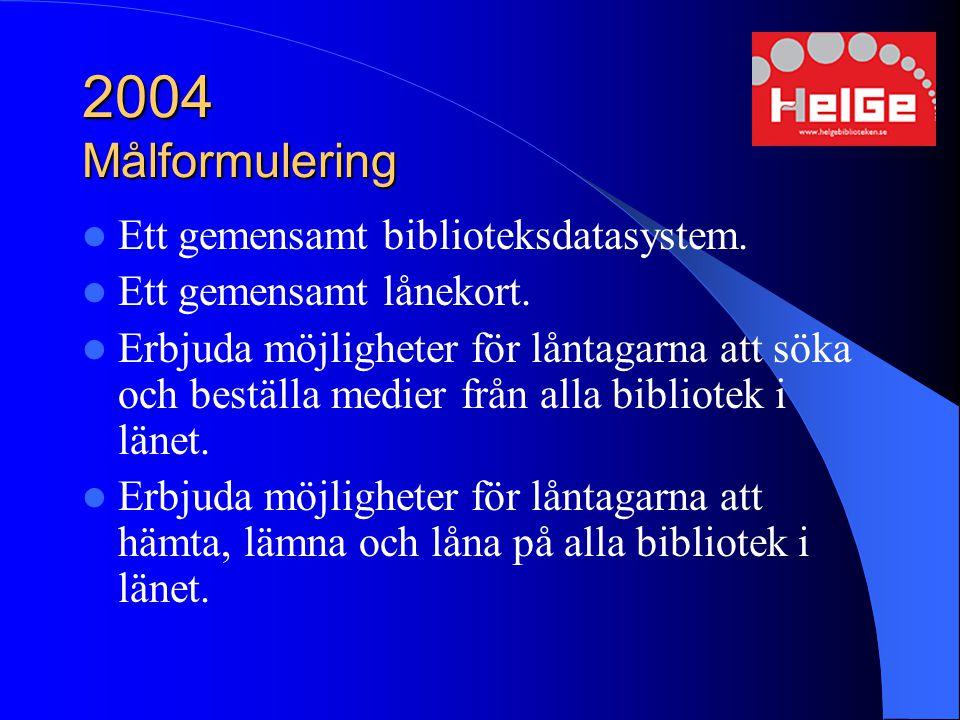 2004 Målformulering Ett gemensamt biblioteksdatasystem.