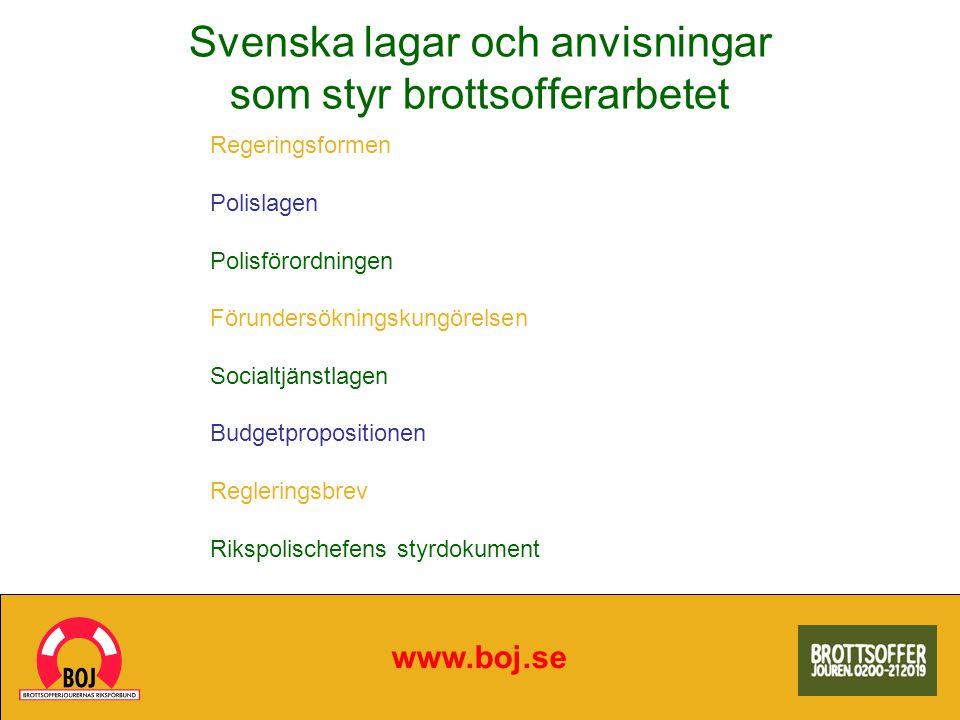 Svenska lagar och anvisningar som styr brottsofferarbetet