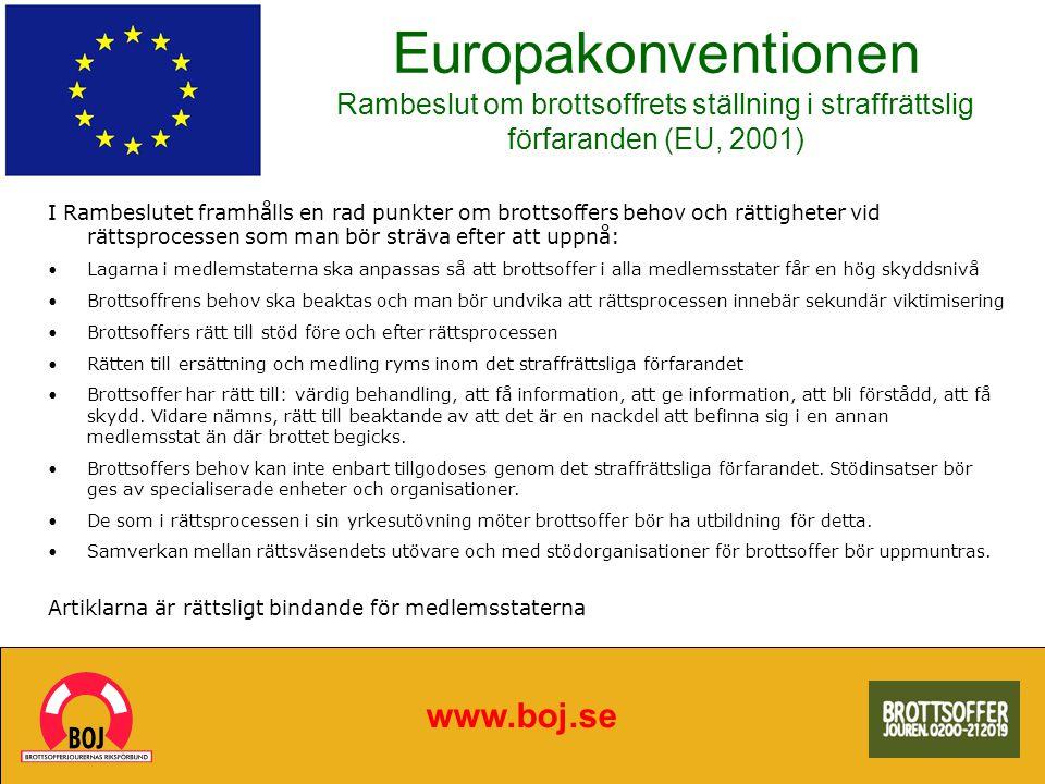 Europakonventionen Rambeslut om brottsoffrets ställning i straffrättslig förfaranden (EU, 2001)