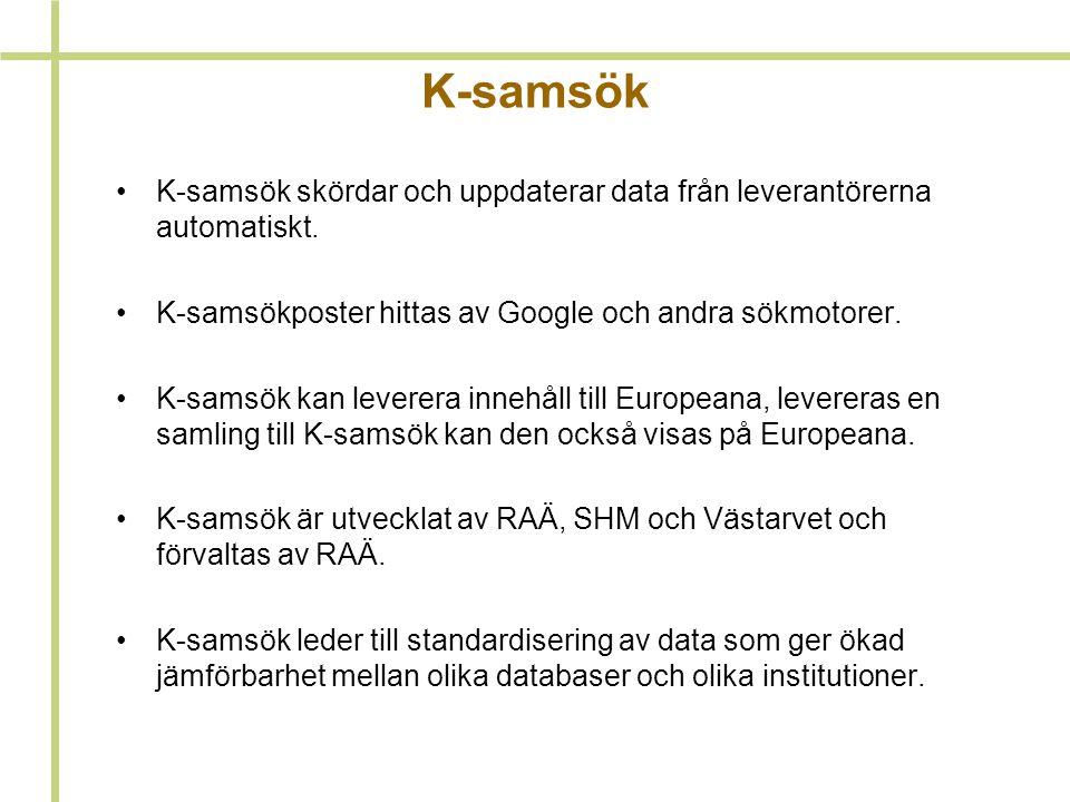 K-samsök K-samsök skördar och uppdaterar data från leverantörerna automatiskt. K-samsökposter hittas av Google och andra sökmotorer.