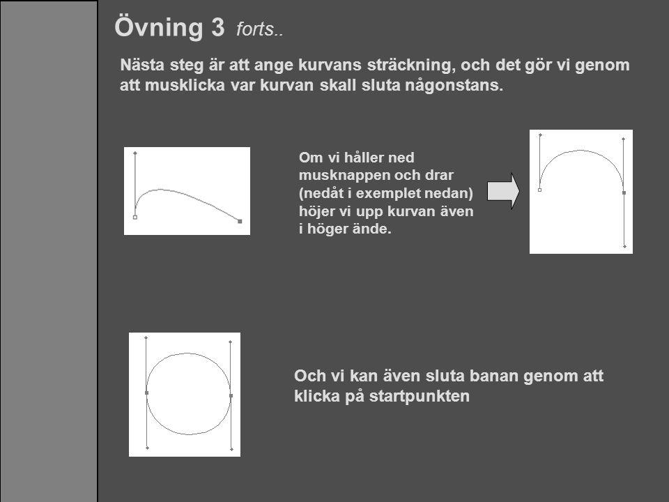 Övning 3 forts.. Nästa steg är att ange kurvans sträckning, och det gör vi genom att musklicka var kurvan skall sluta någonstans.