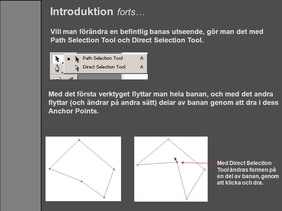 Introduktion forts… Vill man förändra en befintlig banas utseende, gör man det med Path Selection Tool och Direct Selection Tool.