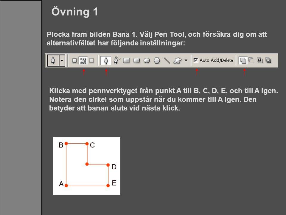 Övning 1 Plocka fram bilden Bana 1. Välj Pen Tool, och försäkra dig om att alternativfältet har följande inställningar: