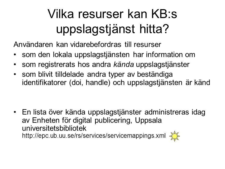 Vilka resurser kan KB:s uppslagstjänst hitta