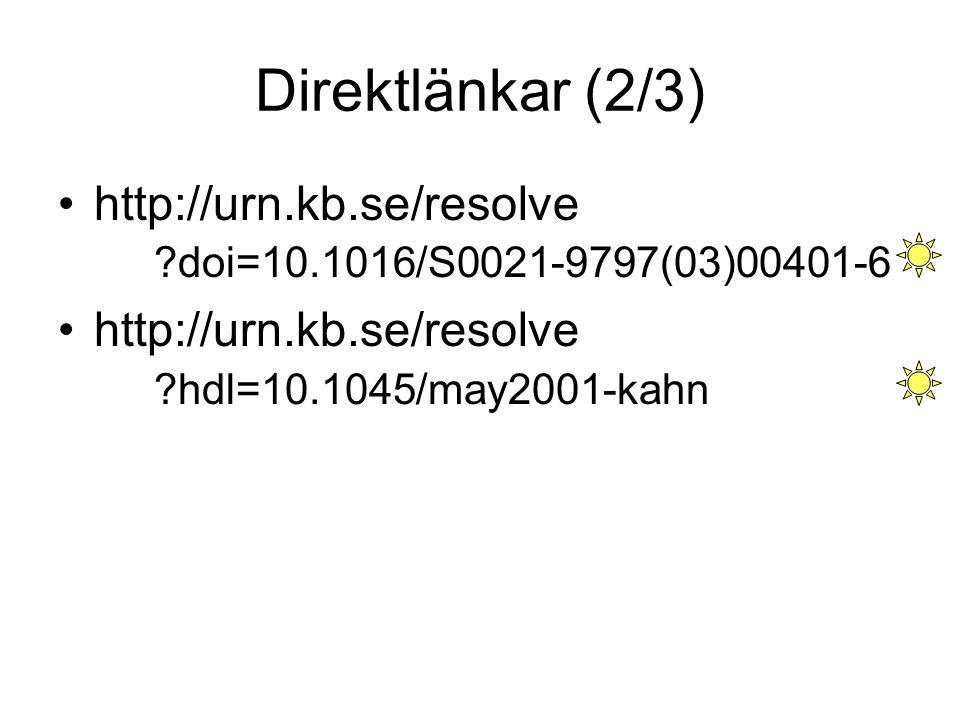 Direktlänkar (2/3) http://urn.kb.se/resolve doi=10.1016/S0021-9797(03)00401-6.