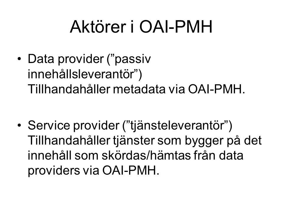 Aktörer i OAI-PMH Data provider ( passiv innehållsleverantör ) Tillhandahåller metadata via OAI-PMH.