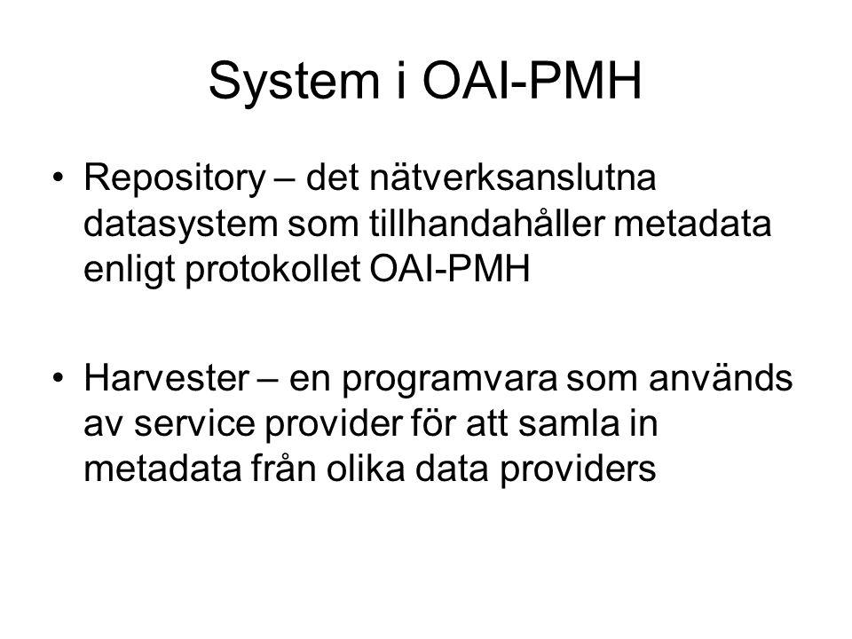 System i OAI-PMH Repository – det nätverksanslutna datasystem som tillhandahåller metadata enligt protokollet OAI-PMH.