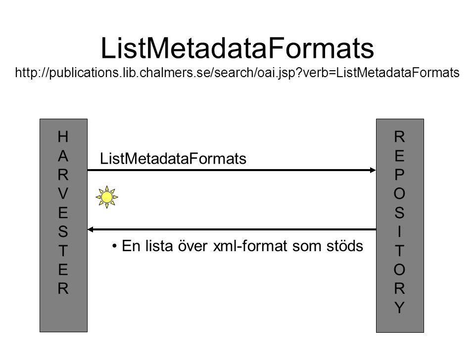 ListMetadataFormats http://publications. lib. chalmers. se/search/oai
