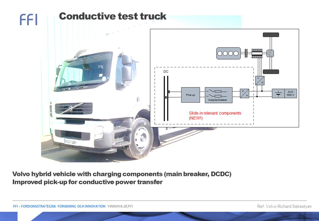 Conductive test truck Volvo hybrid vehicle with charging components (main breaker, DCDC) Improved pick-up for conductive power transfer.