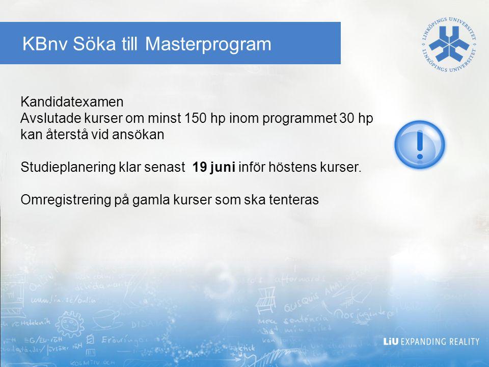 KBnv Söka till Masterprogram