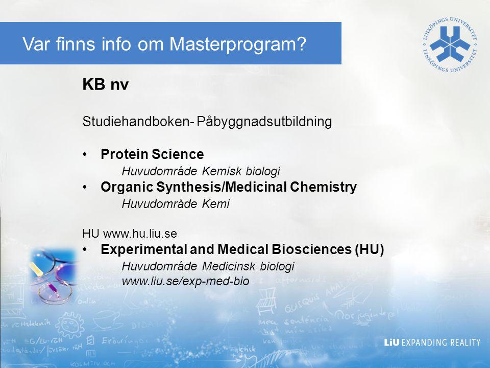 Var finns info om Masterprogram