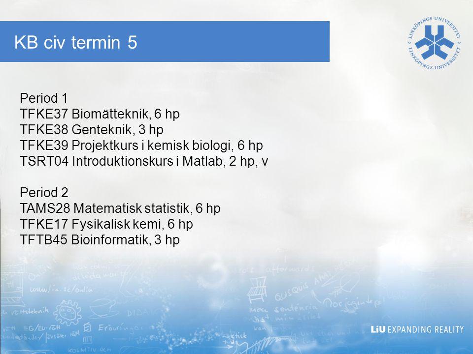 KB civ termin 5 Period 1 TFKE37 Biomätteknik, 6 hp