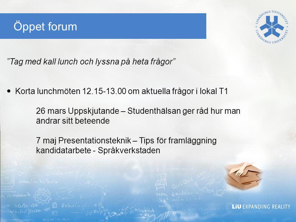 Öppet forum Tag med kall lunch och lyssna på heta frågor