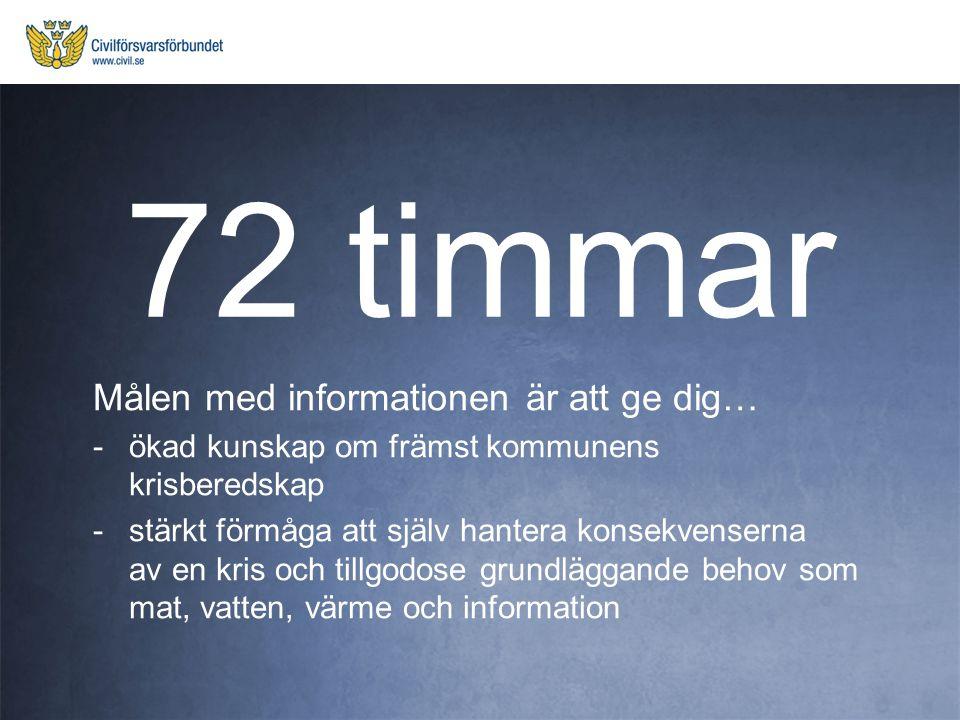 72 timmar Målen med informationen är att ge dig…
