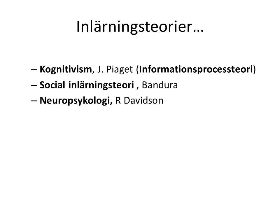 Inlärningsteorier… Kognitivism, J. Piaget (Informationsprocessteori)