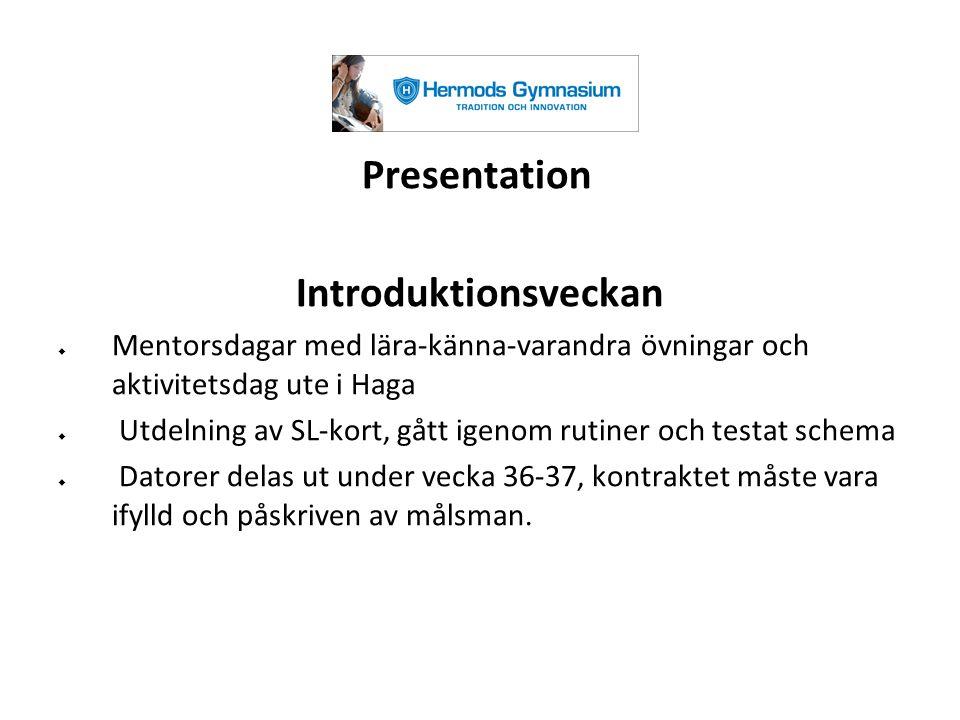 Presentation Introduktionsveckan