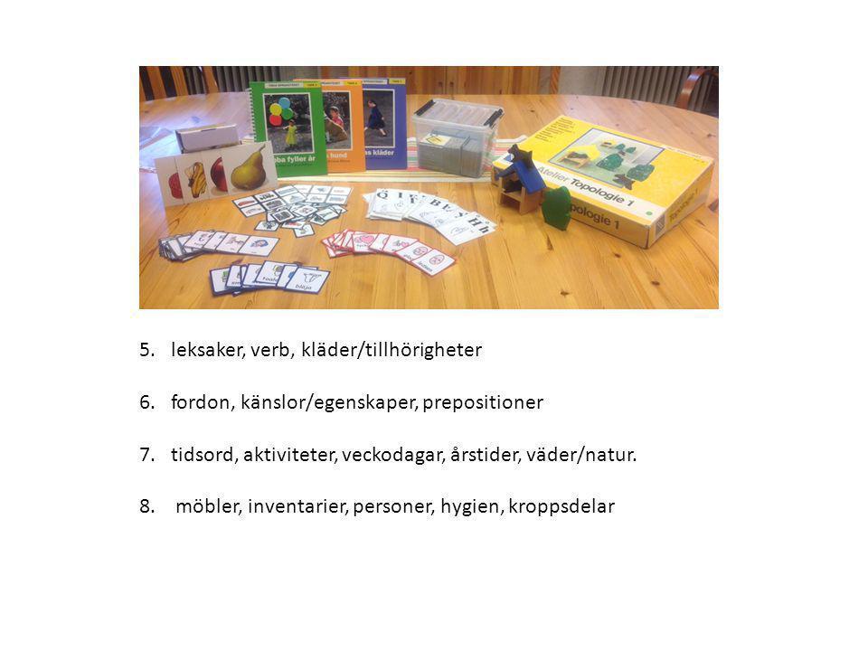 5. leksaker, verb, kläder/tillhörigheter