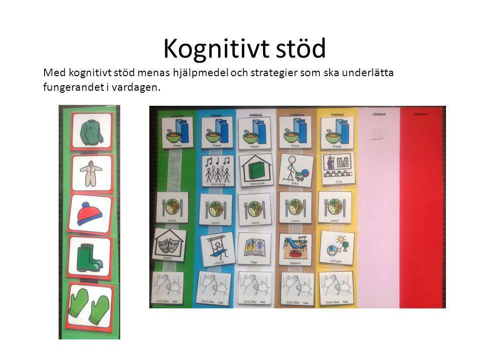 Kognitivt stöd Med kognitivt stöd menas hjälpmedel och strategier som ska underlätta fungerandet i vardagen.