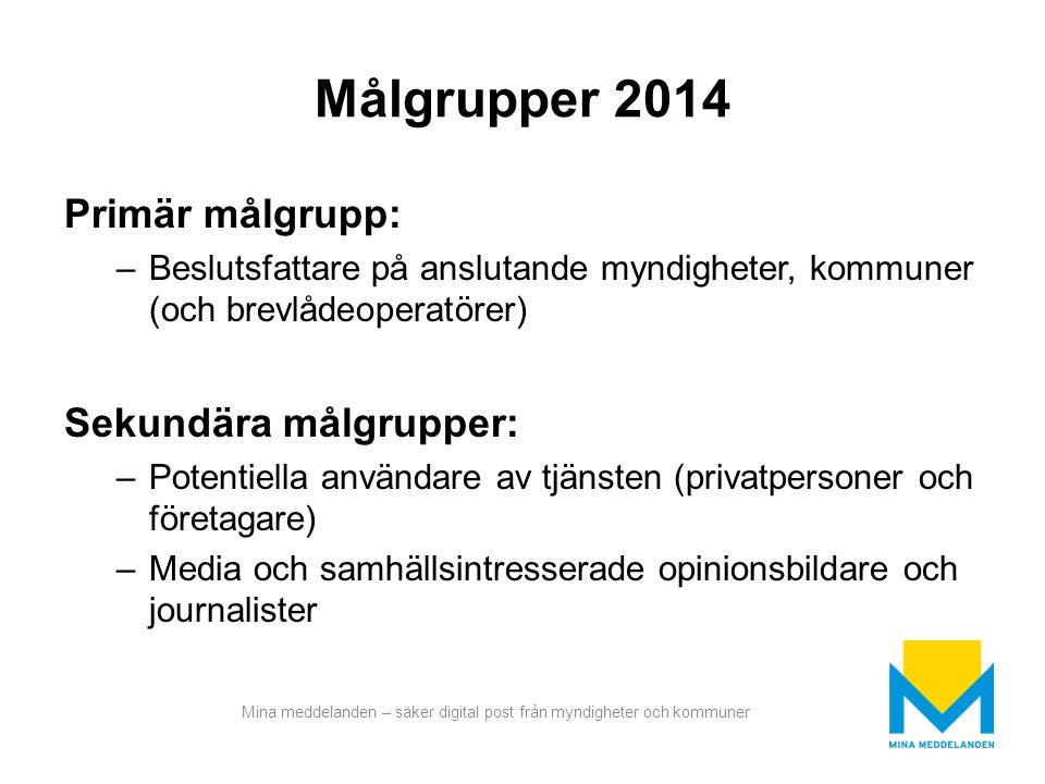 Målgrupper 2014 Primär målgrupp: Sekundära målgrupper: