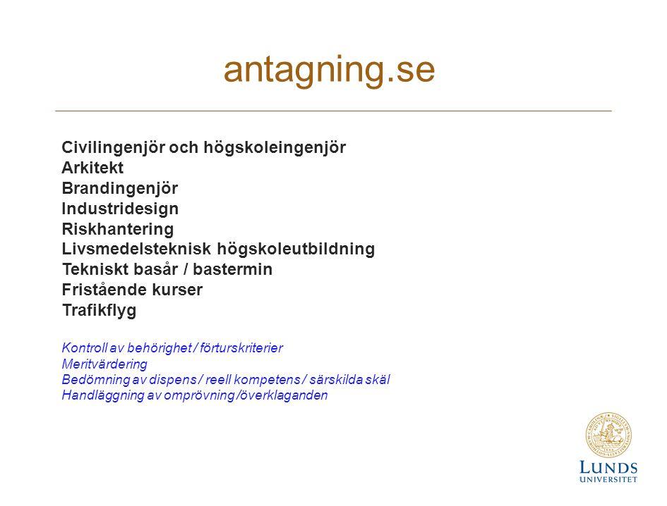 antagning.se Civilingenjör och högskoleingenjör Arkitekt Brandingenjör