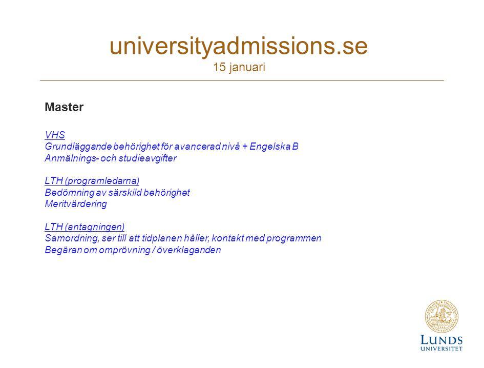 universityadmissions.se 15 januari