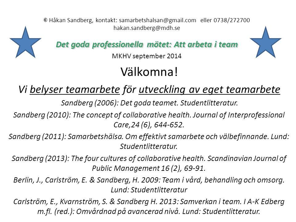 Välkomna! Vi belyser teamarbete för utveckling av eget teamarbete