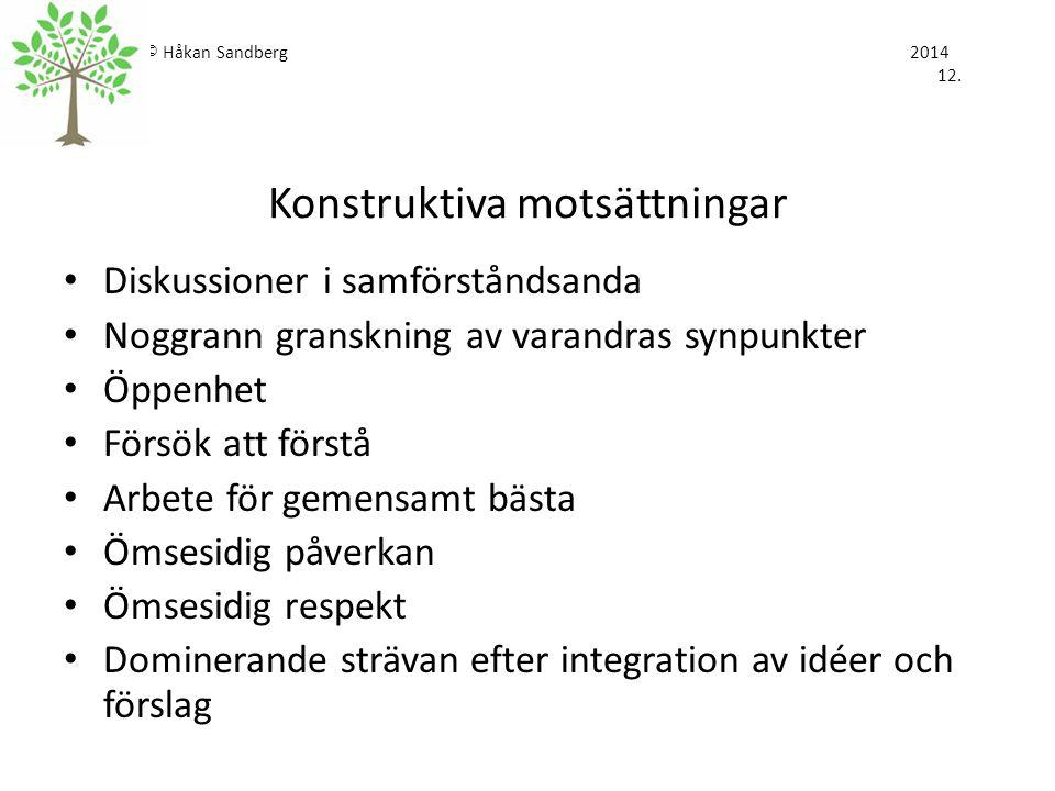 © Håkan Sandberg 2014 12. Konstruktiva motsättningar
