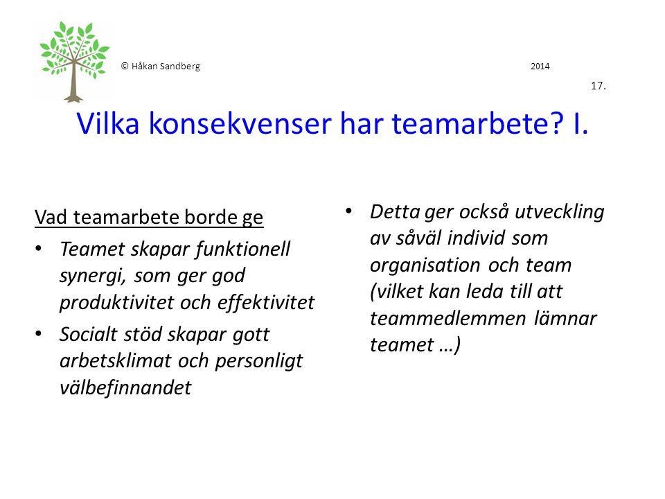 © Håkan Sandberg 2014 17. Vilka konsekvenser har teamarbete I.